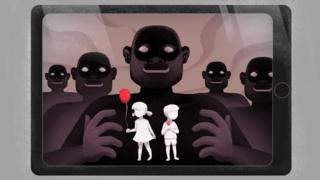 Ilustração de cinco vultos escuros atrás de duas crianças, sendo uma menina com um balão (esq.) e um menino com um pirulito (dir,)