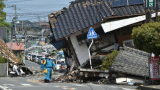 Top view of damage from earthquake in residential area in Kumamoto