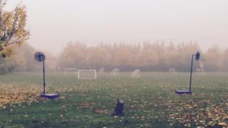 Playing field in the fog