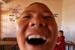 Young monks are seen at their school inside Thiksey Monastery in Ladakh, India