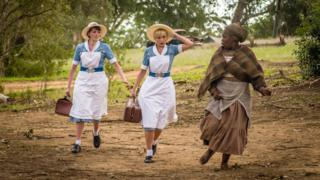 Helen George (centre) with other cast members of the Call the Midwife Christmas special