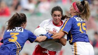Tipperary's Maria Curley and Orla O'Dwyer tackle Tyrone's Niamh Hughes