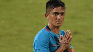 "India""s captain Sunil Chhetri (C) greets his team""s supporters after winning th the Hero Intercontinental Cup football match between India and Kenya, in Mumbai, on June 4, 2018"