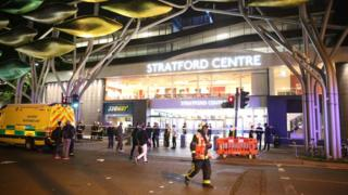 Emergency services outside Stratford Centre