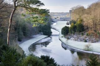 A frosty river at Fountains Abbey and Studley Royal Water Garden