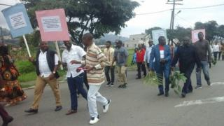 Mayor for Buea Patrick Ekema Esunge don march for peace