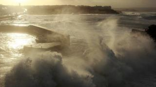 Portstewart Harbour during gale-force winds