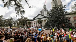 Protesters rally outside the Capitol in Tallahassee, Florida, urging lawmakers to reform gun laws on February 21, 2018