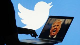 Person on laptop with President Trump's photo on it and Twitter log in background