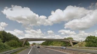 Footbridge to Oareborough Lane in Hermitage over the M4
