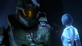 Master Chief looks down at Cortana