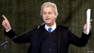 Geert Wilders gives a speech at a rally of the anti-immigration movement Patriotic Europeans Against the Islamisation of the West in Dresden, Germany - 13 April 2015