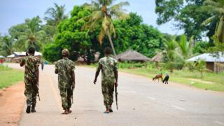 Soldiers from the Mozambican army patrol the streets of Cabo Delgado province