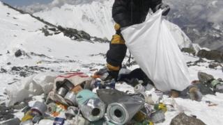 Mount Everest covered in litter