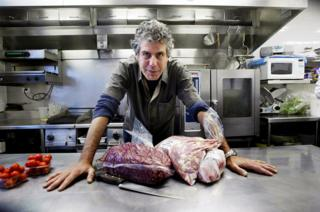 Anthony Bourdain in his restaurant
