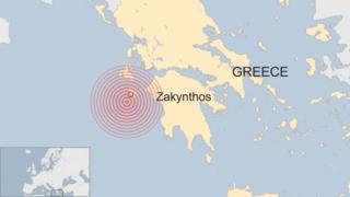 Area hit by quake in Zakynthos