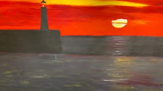 Part of a painting of a breakwater at sunset