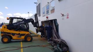 Sandbanks Ferry under repair in Southampton