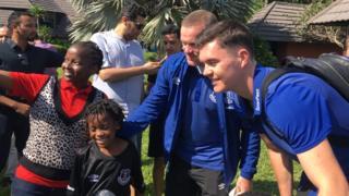 Rooney na wachezaji wa Everton