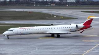 An Iberia Bombardier CRJ-1000 plane