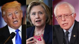 Donald Trump, Hillary Clinton and Bernie Sanders