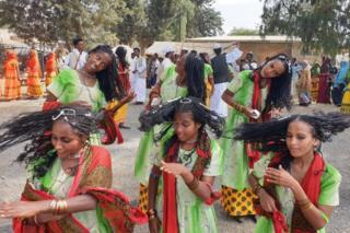 Women dance at a festival in Eritrea