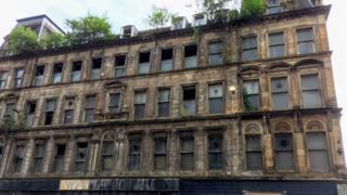 The facade of the building