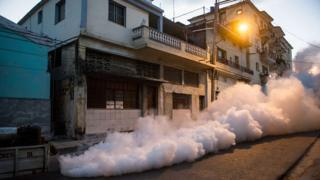Health authorities with the help of the Cuban army fumigate against the Aedes aegypti mosquito to prevent the spread of zika, chikungunya and dengue in a street of Havana, on February 23, 2016.