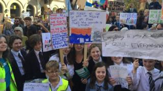 Children at the climate change demonstration in Belfast