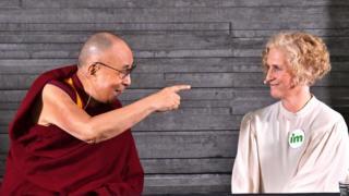 "ibetan spiritual leader Dalai Lama and development NGO IM""s Secretary General Ann Svensn (R) attend at a press meeting in Malmo in Malmo, Sweden September 12, 2018."