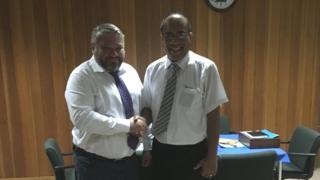 Anton Bakov meeting President of Kiribati Taneti Mamau