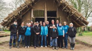 Neolithic Longhouse and volunteers