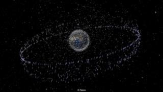 Ilustração da órbita de sucata espacial em volta da Terra