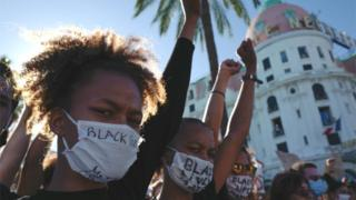 Protestors in Nice, France on Saturday