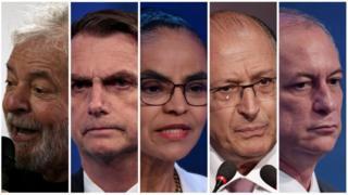 Luiz Inácio Lula da Silva (PT), Jair Bolsonaro (PSL), Marina Silva (Rede), Geraldo Alckmin (PSDB) e Ciro Gomes (PDT) são os candidatos registrados no TSE que estão melhor posicionados nas pesquisas de intenção de voto.