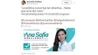 Ana Sofia Orellana'nın kampanya tweeti