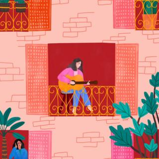 An illustration of Italians singing on their balconies during the lockdown