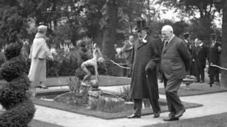 King George V and Queen Mary visit the Chelsea Flower Show in 1930