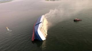 Golden Ray cargo ship overturned in the sea