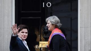 Theresa May and Beata Szydlo