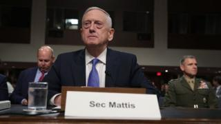 US Defence Secretary James Mattis at a hearing of the Senate Armed Services Committee in Washington. Photo: 3 October 2017