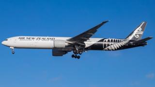 Air New Zealand Boeing 777 specifically Boeing 777-319(ER) with registration ZK-OKR is landing at London Heathrow International Airport in The UK
