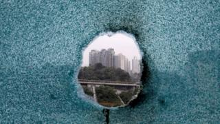 A shattered window at Poly U