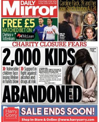 FRONT PAGE DAILY MIRROR Thursday 24 January 2019