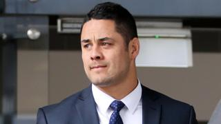 Jarred Hayne outside the Newcastle Court on Thursday