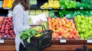 Woman shopping for fresh fruit and veg