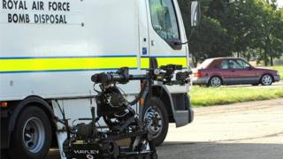 RAF Bomb Disposal vehicle and machinery
