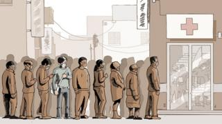 等待就医的人群(漫画)