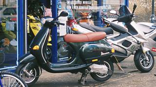two mopeds.