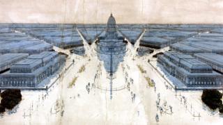 Jules Guerin's painting of Burnham and Bennett's Plan for post-fire Chicago, 1909